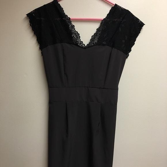 Myan Dresses & Skirts - Myan Black Lace and Brown Dress